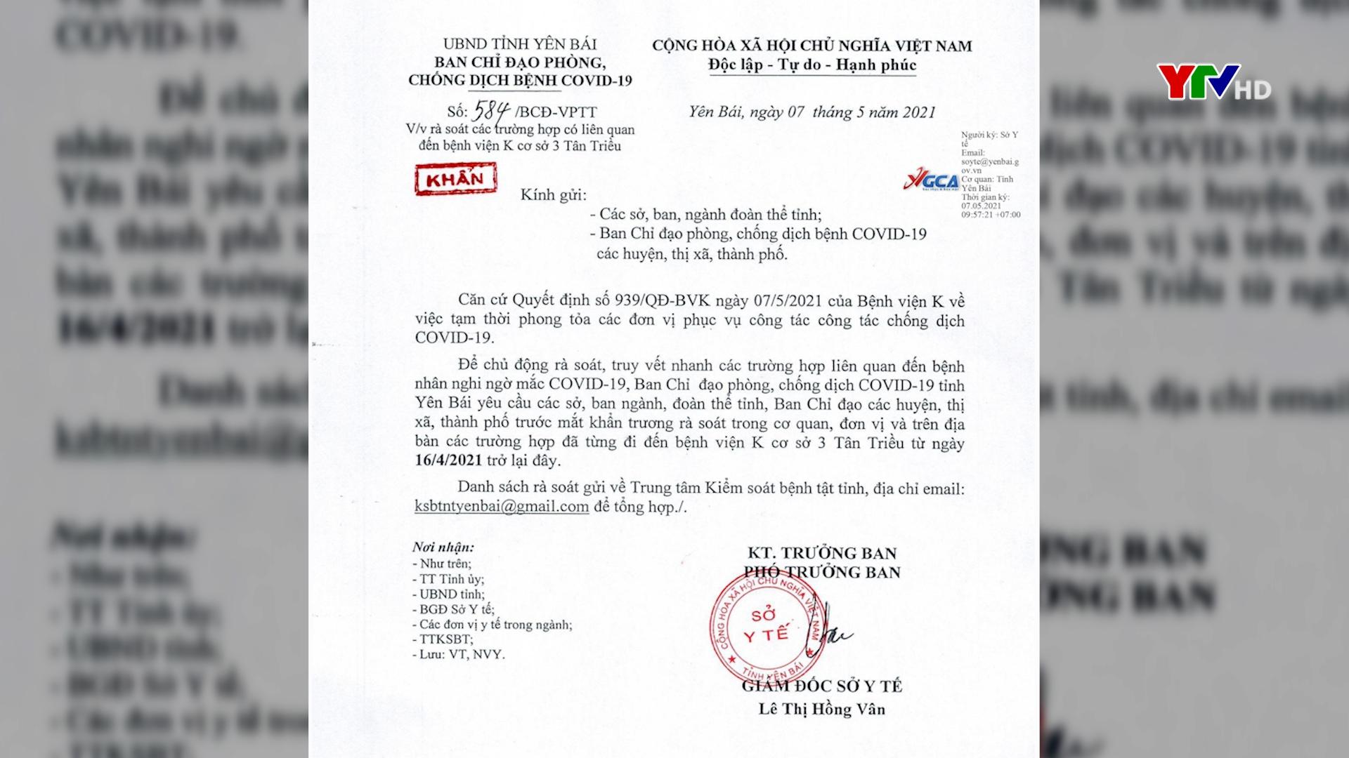 Yên Bái yêu cầu rà soát các trường hợp có liên quan đến Bệnh viện K cơ sở 3 Tân Triều từ ngày 16/4 trở lại đây