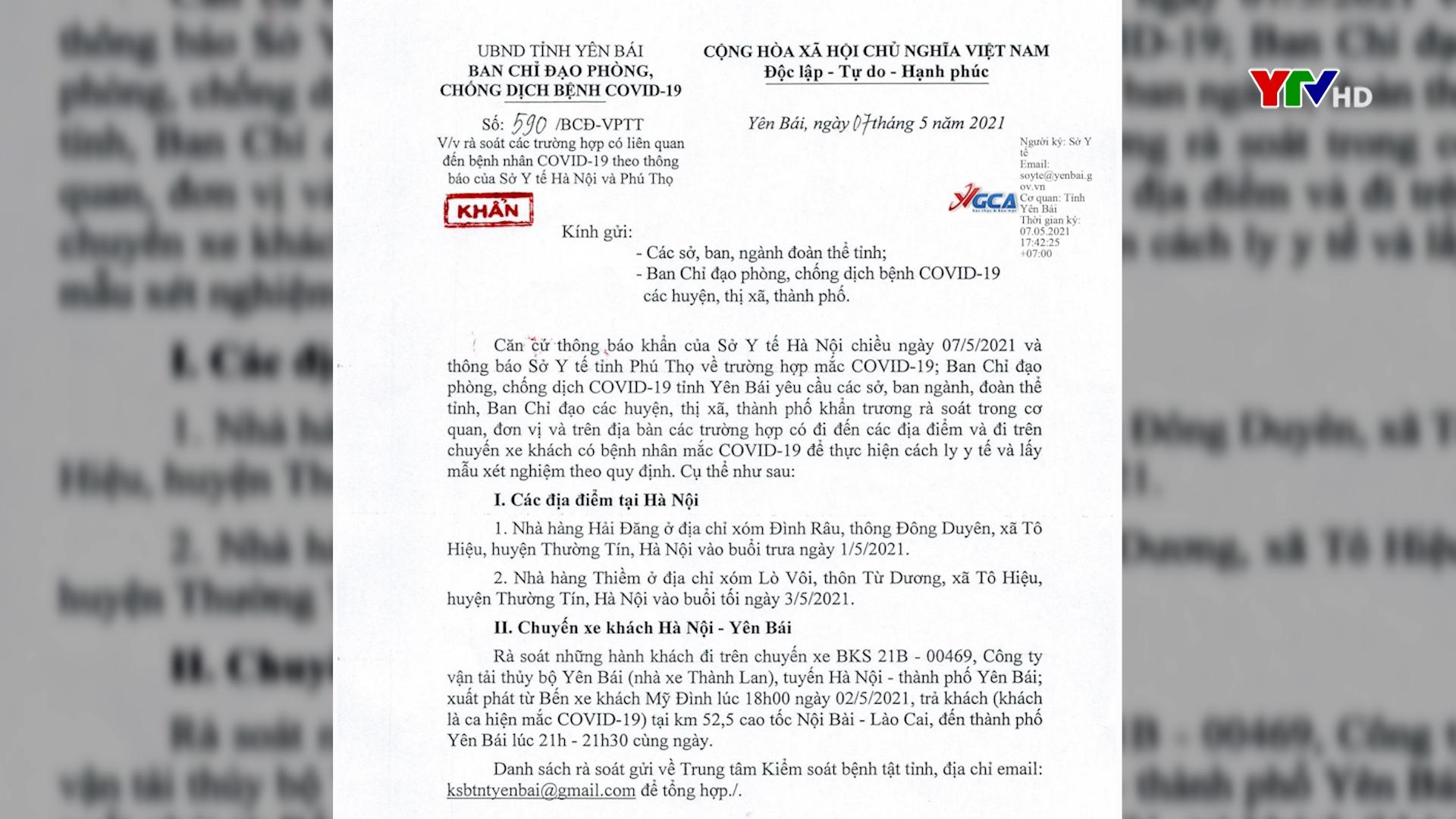 Công điện khẩn về rà soát các trường hợp có liên quan đến bệnh nhân Covid-19 theo thông báo của Sở Y tế Hà Nội và Phú Thọ