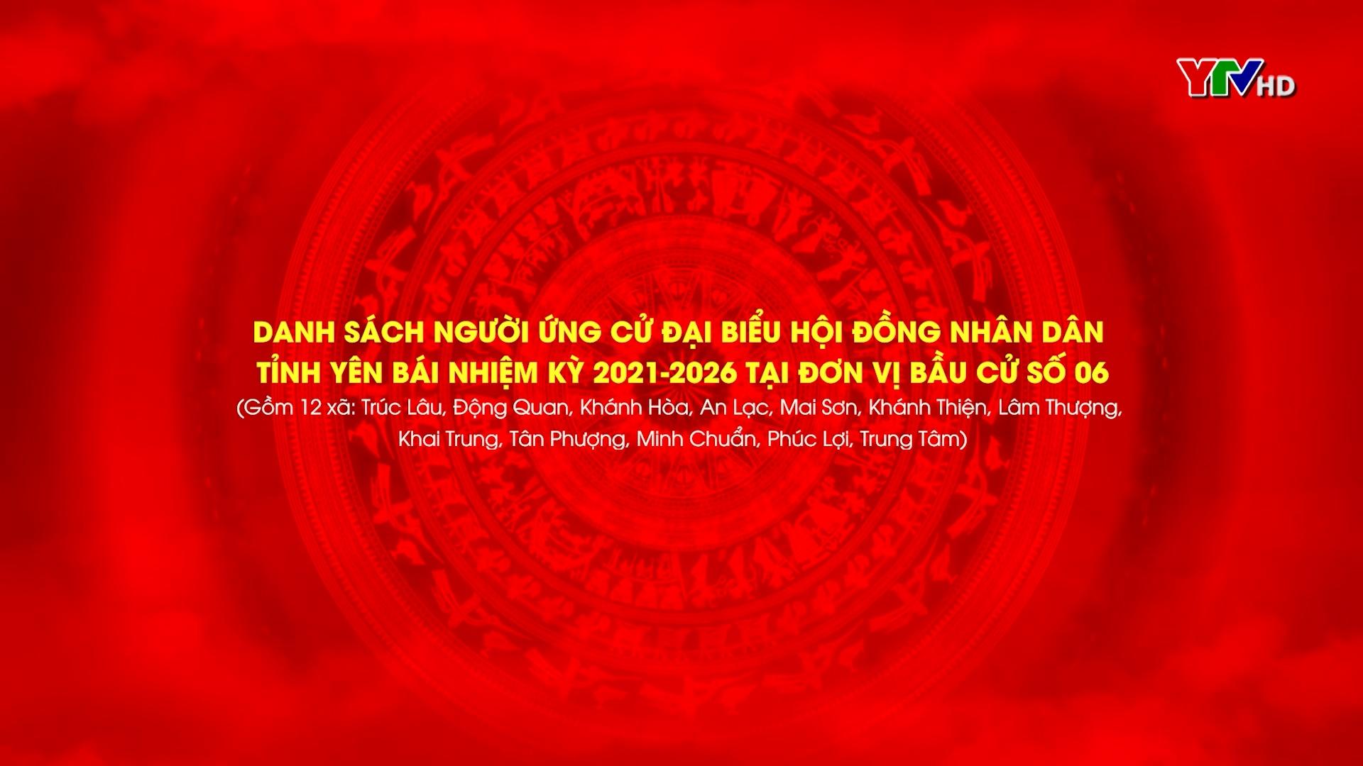Danh sách các ứng cử viên Đại biểu HĐND tỉnh Yên Bái khóa XIX, nhiệm kỳ 2021 - 2026  ( Từ Đơn vị Bầu cử số 6 đến Đơn vị bầu cử số 10)