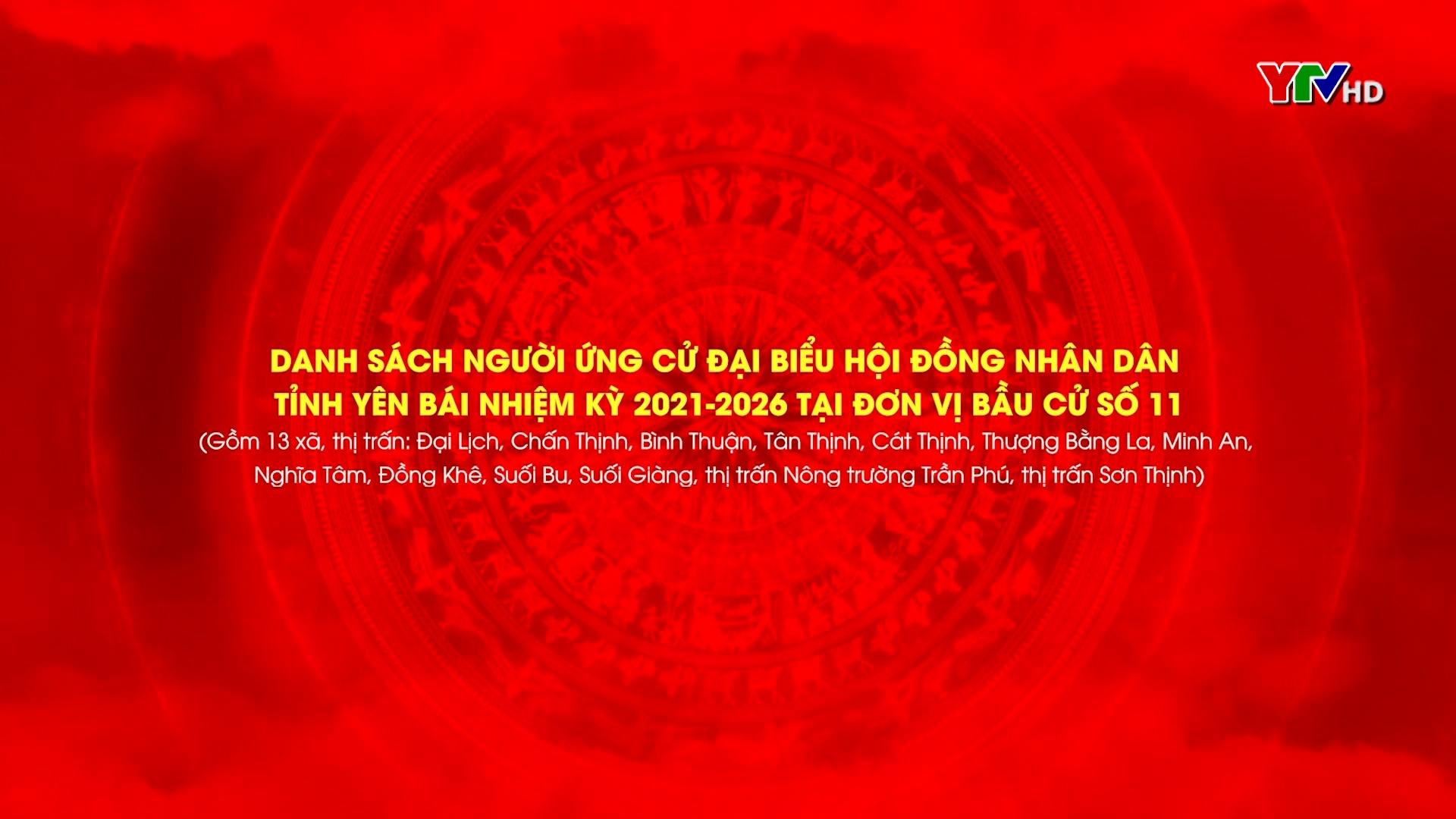 Danh sách các ứng cử viên Đại biểu HĐND tỉnh Yên Bái khóa XIX, nhiệm kỳ 2021 - 2026 ( Từ Đơn vị Bầu cử số 11 đến Đơn vị bầu cử số 15)