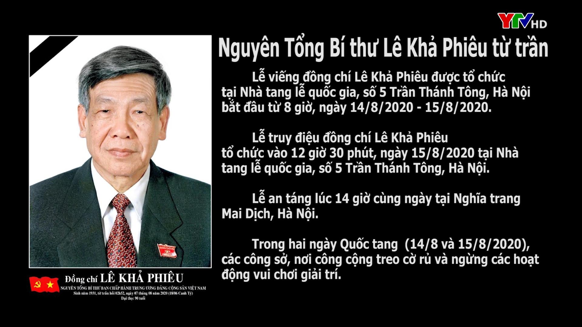 Tang lễ đồng chí Lê Khả Phiêu được tổ chức theo nghi thức Quốc tang vào ngày 14 và 15/8/2020