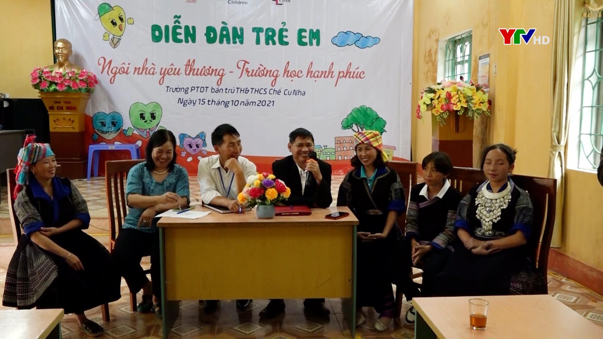 """Diễn đàn trẻ em với chủ đề """" Ngôi nhà yêu thương, trường học hạnh phúc"""" tại huyện Mù Cang Chải"""